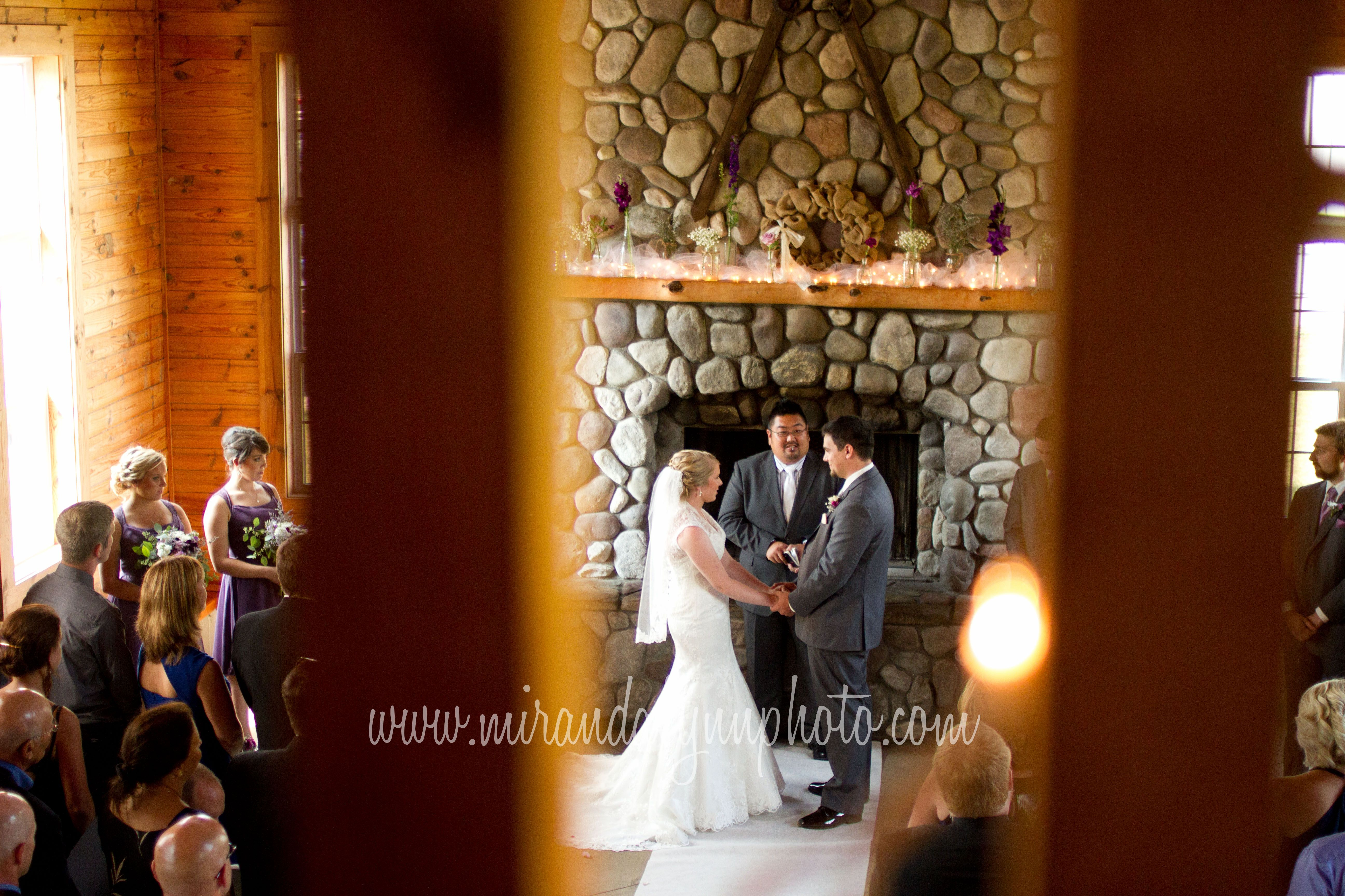 Caberfae Peaks Wedding Ceremony Picture Michigan Photographer Bride And Groom