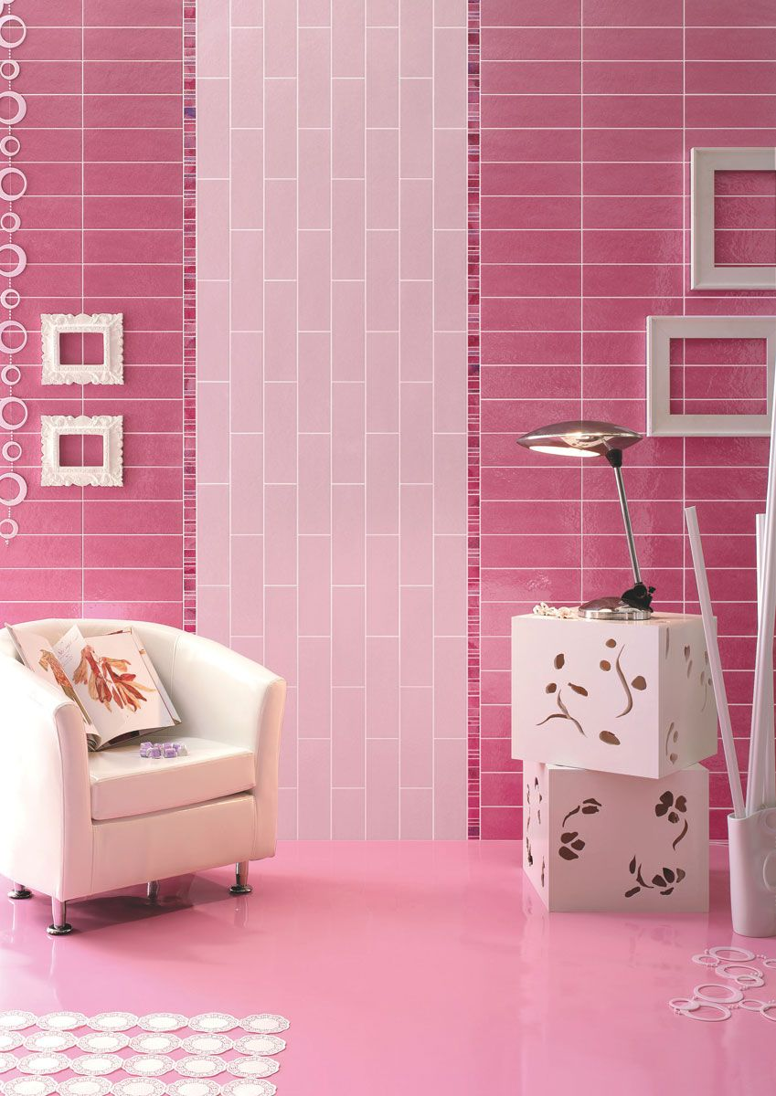 Barbie Pink And Magenta Pink Wall Tiles For A Perfect Barbie Inspired House Pink Bathroom Or Bedroom Pink Bathroom Lime Green Bathrooms Pink Walls