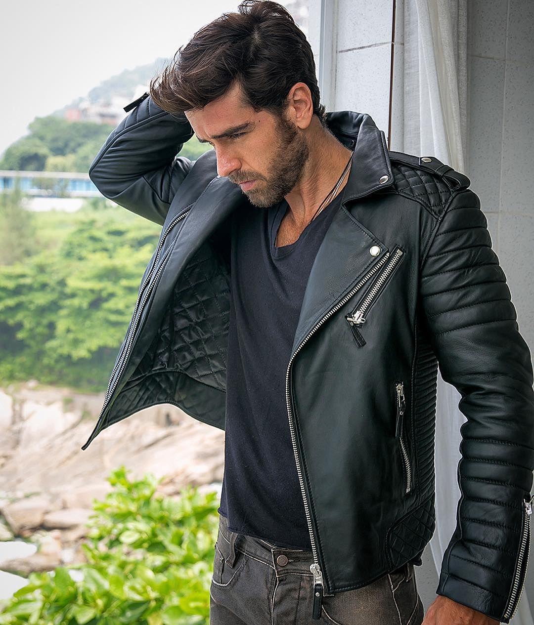 Leather jacket instagram - Oil Black Bodaskins Leather Style
