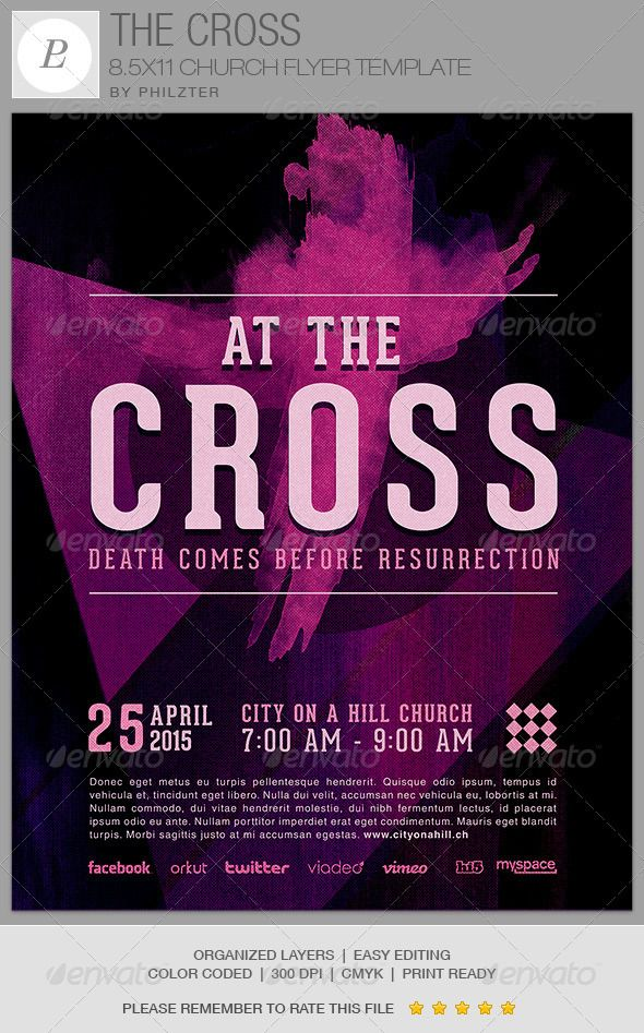 The Cross Church Flyer Template On Behance Posters Pinterest