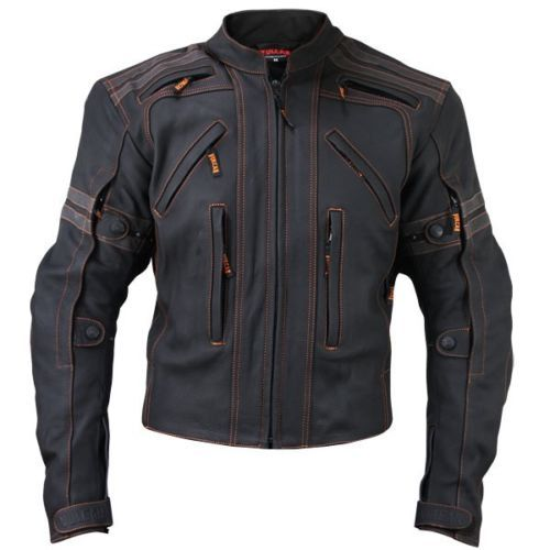 Mens Black Vulcan Vtz 910 Street Racer Premium Leather Motorcycle