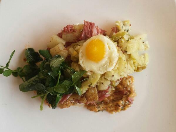 Pachamamas - Corned beef & potato hash w/ toasted garlic mustard, pickled cherry pepper kraut & quail egg #LawrenceKS #restaurant