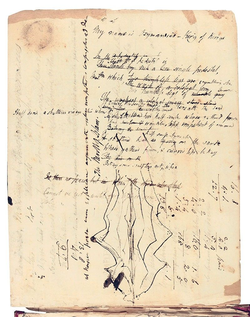 1817 Draft Of Ozymandia By Percy Bysshe Shelley Bodleian Library Manuscript Sketch Book Poetry Analysis