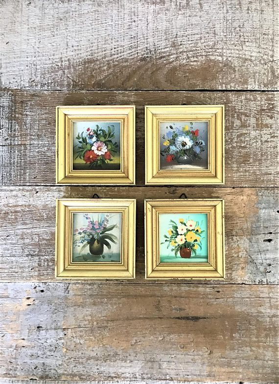 Wall Art 4 Small Paintings of Flower Bouquets Wood Gold Frame | The ...