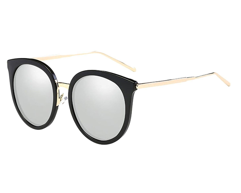 8eca24168f3 Cat Eye Sunglasses For Women Oversized Polarized Woman Sunglass - Black  Frame Silver Lens - C6186DA2IAW - Women s Sunglasses