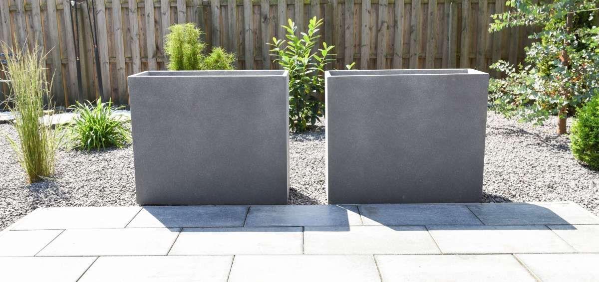 4er Set Pflanzkubel Raumteiler Beton Elemento Grau