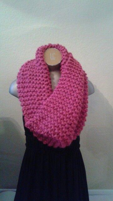 Raspberry Knitted Jumbo Infinity Scarf