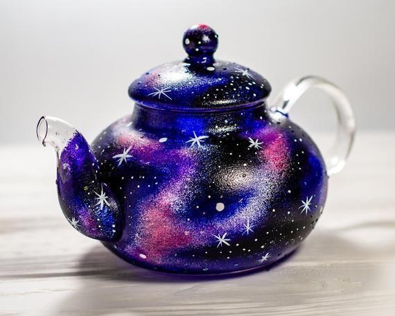 Celestial Wedding Gift Galaxy Teapot Glass Tea Pot Space Universe Stars Hand Painted #teapotset