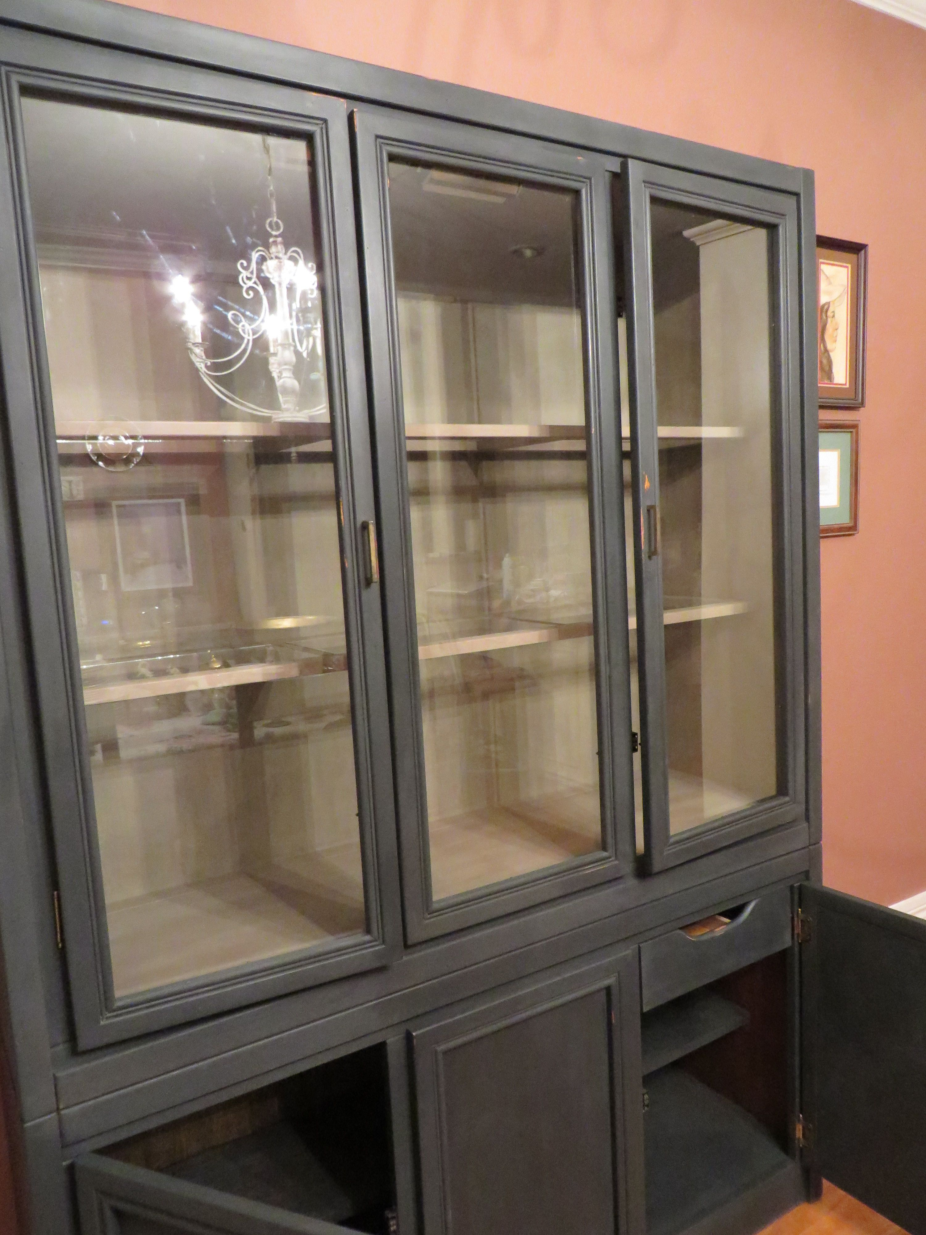 Older Veneer China Cabinet Painted With Annie Sloan Chalk Paint Exterior Graphite Interior
