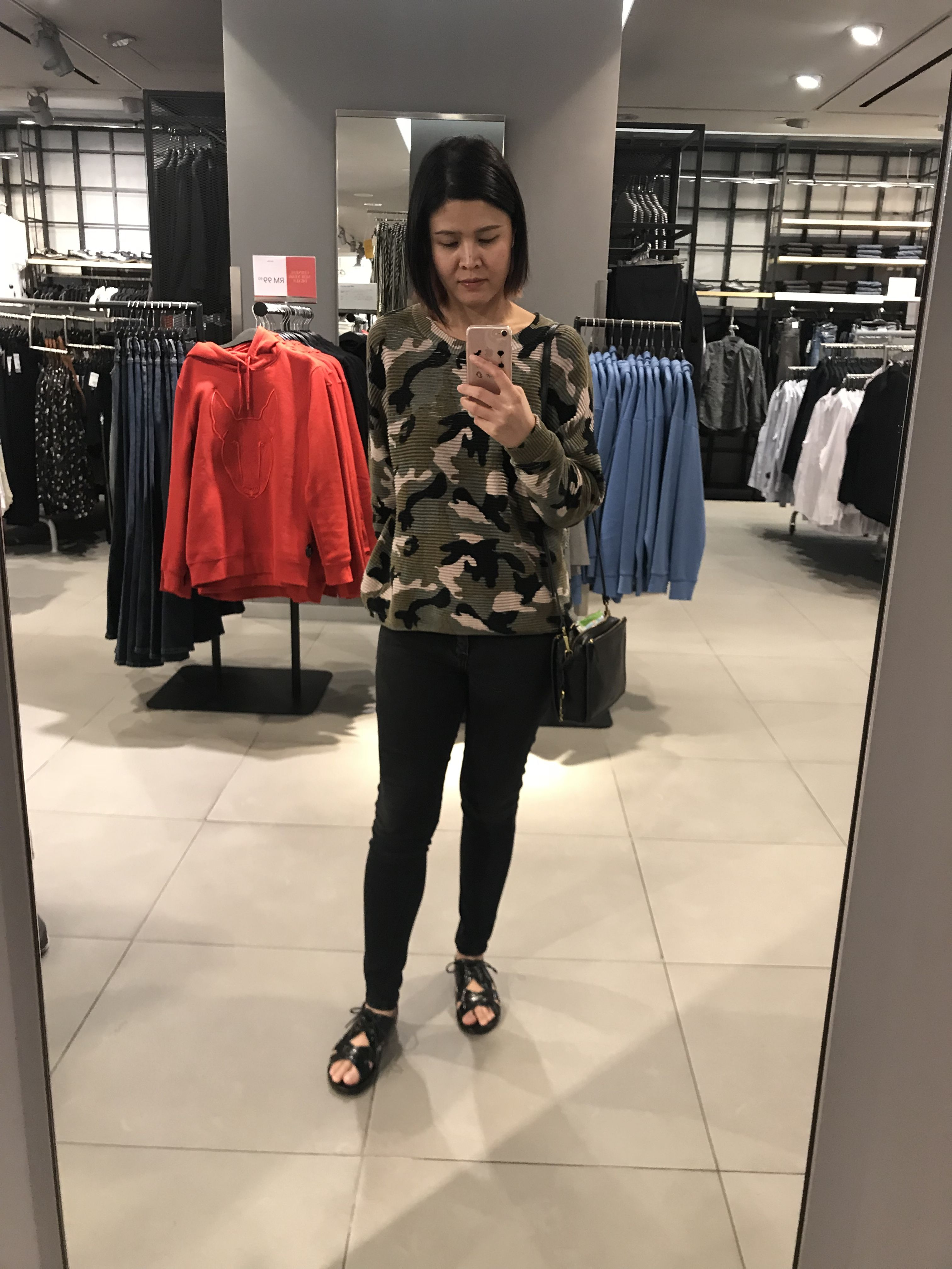 c6840231cf OOTD: Camo long sleeve - H&M, Jeans - Forever21, Sandals - Lewre, Crossbody  Sling- Fossil