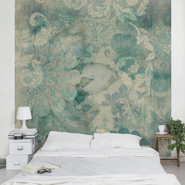Vliestapete - Eisblumen - Fototapete Quadrat Schlafzimmer - tapete für schlafzimmer