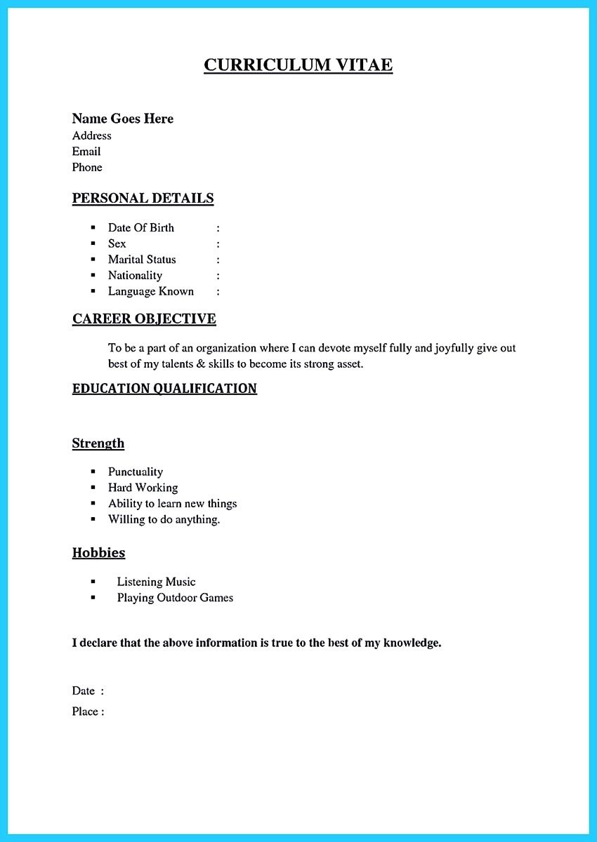 Sample Resume For Call Center Job Without Experience Format Fresher Best Of Pdf Basic Resume Format Basic Resume Simple Resume