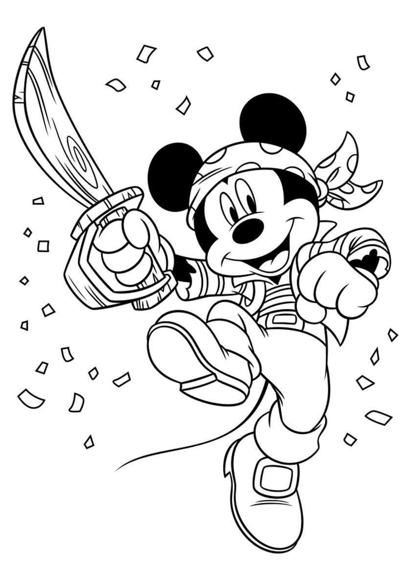 Mickey in a Pirate Costume | Kleurplaten, Stempelen