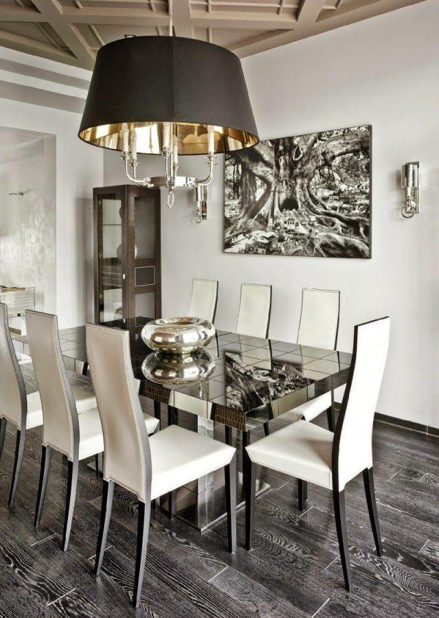 comedor moderno en color blanco y gris