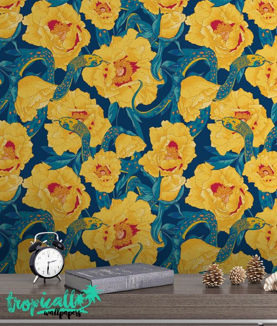 Floral Snake Wallpaper - Removable Wallpapers - Exotic Flower Print ...