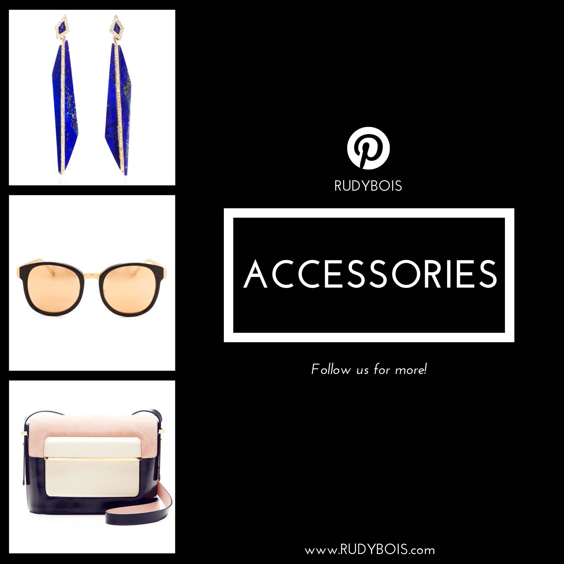 On our Pinterest's board «Accessories», see our team's selection of accessories to style your RUDYBOIS's garments. Keep Vivienne Westwood's quote in mind: «Buy less choose well»! Invest in great bags, rings, necklaces, bracelets and glasses. Follow us on Pinterest to keep your inspiration's flow. www.RUDYBOIS.com #designer #fashion #cocktail #evening #day #accessories #rudybois #glasses #earring #bag #handbag #runway #style