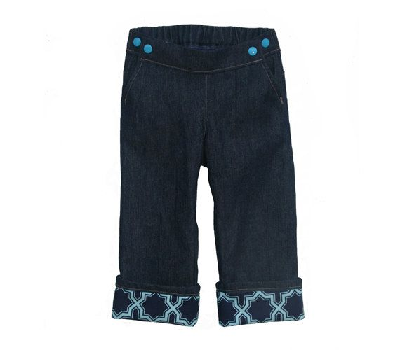 Jeans for cloth diapers! Teal Lattice Cuffed Jeans. Project Pomona - Etsy