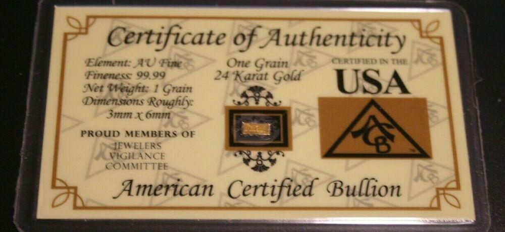 One Grain 24 Karat Gold Bullion