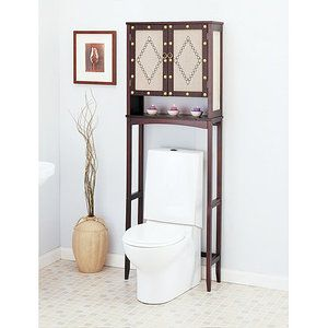 Neu Home Over the Toilet Space Saver w/Fabric Panels Riviere Collection, Espresso