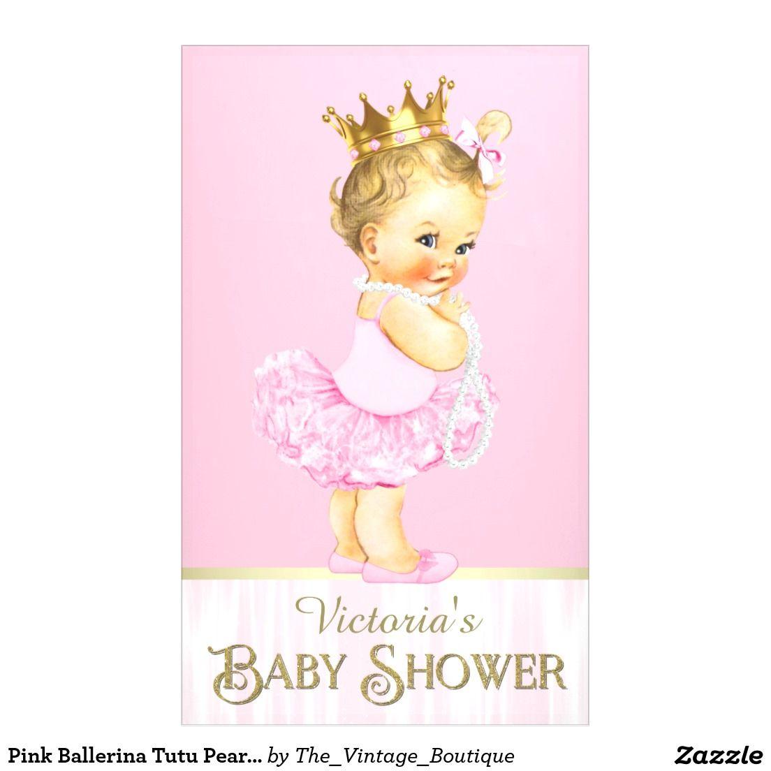 Pink Ballerina Tutu Pearl Baby Shower Banner Zazzle Com Baby Shower Banner Baby Shower Princess Ballerina Baby Showers