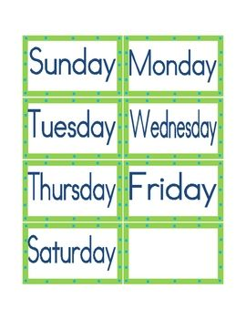 Calendar Days Of The Week Headings Atividades