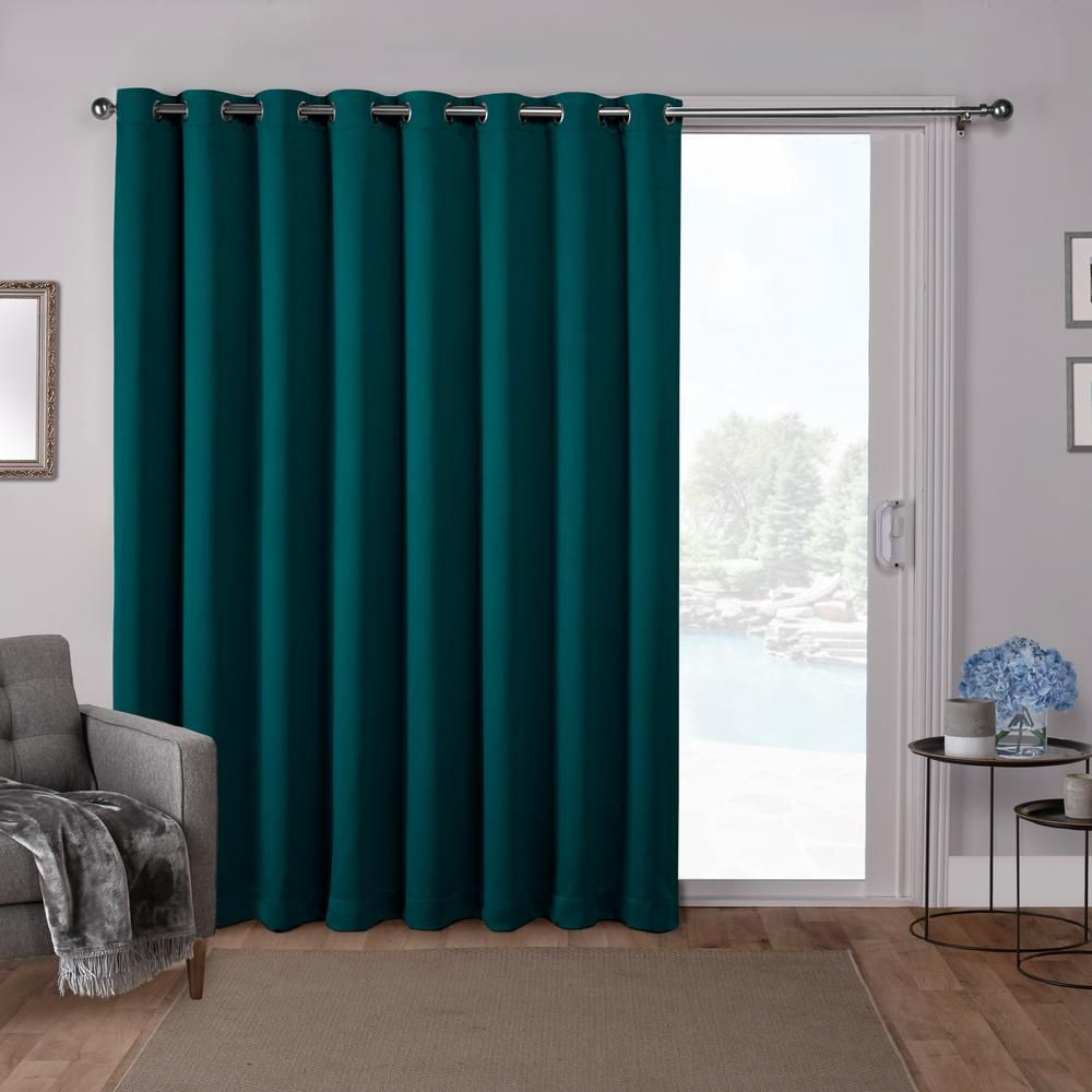 Unbranded Sateen Patio 100 In W X 84 In L Woven Blackout Grommet Top Curtain Panel In Sapphire Teal 1 Panel Eh8193 10 2 84g The Home Depot Home Curtains Patio Curtains Exclusive Home