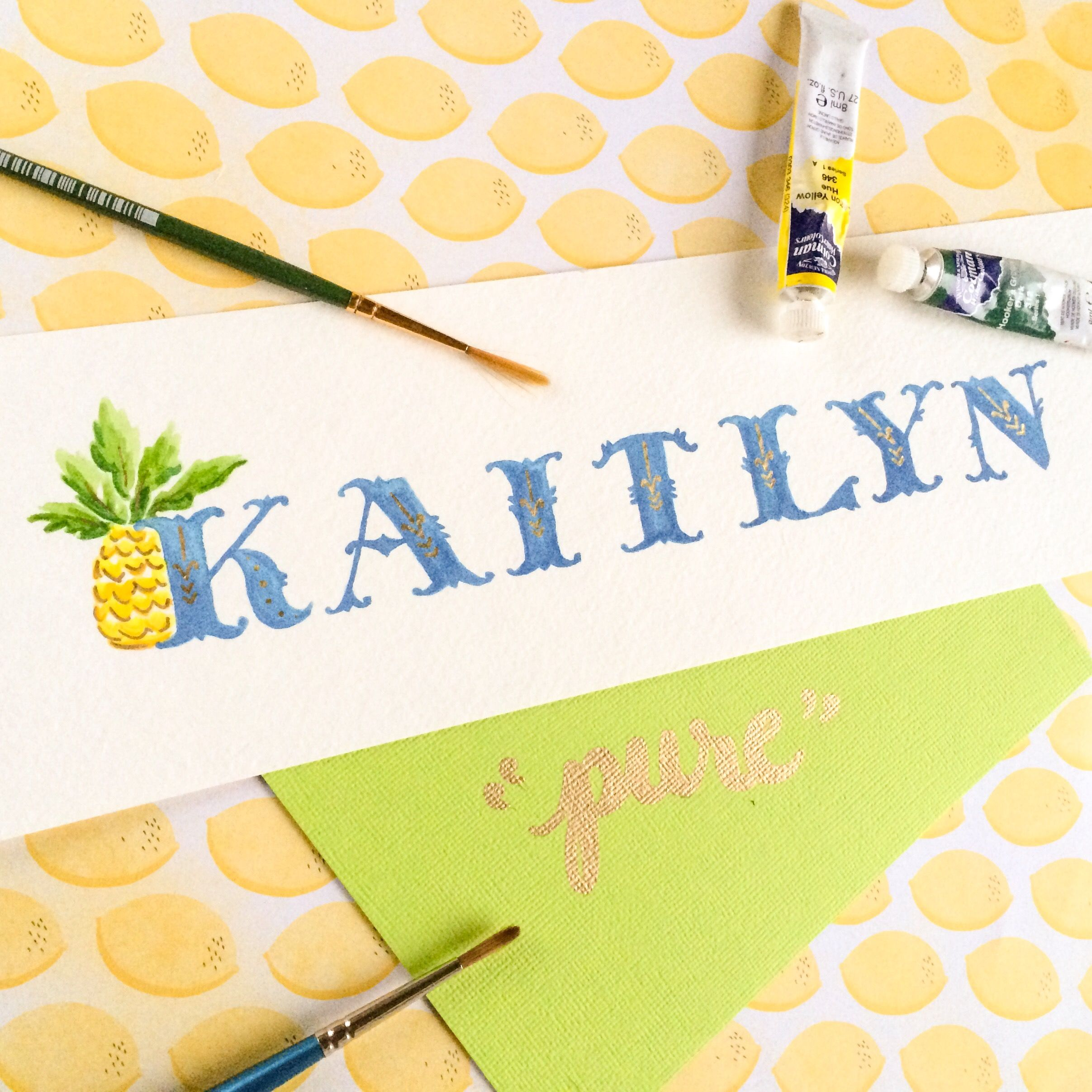 April 24th Name Of The Day Hand Lettering Challenge Kaitlyn Meaning Pure In