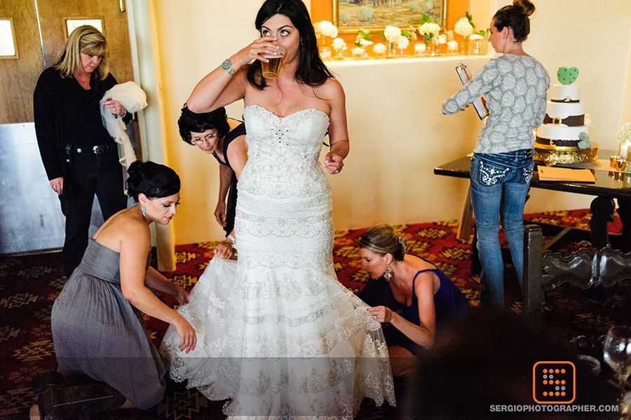 bride getting ready cocktail hour at tanque verde ranch wedding tucson