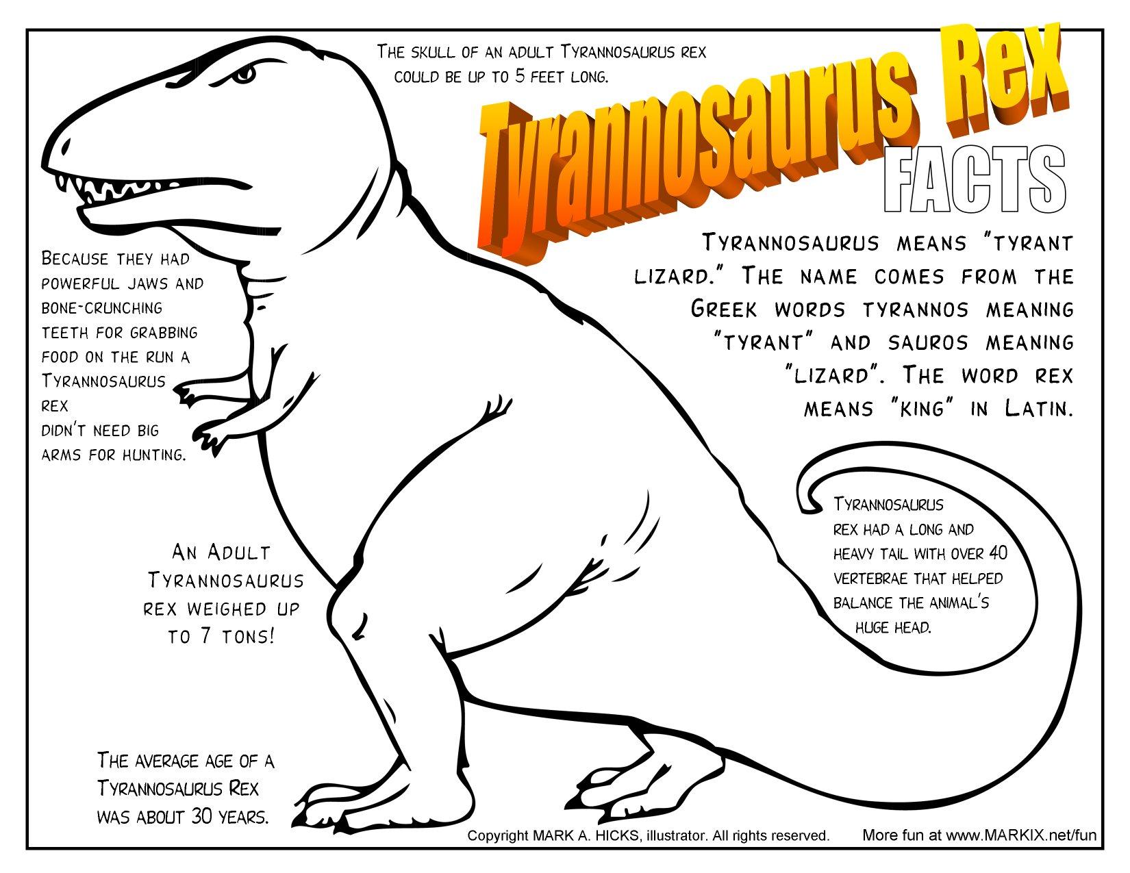 tyrannosaurus rex fact filled printable coloring page more fun