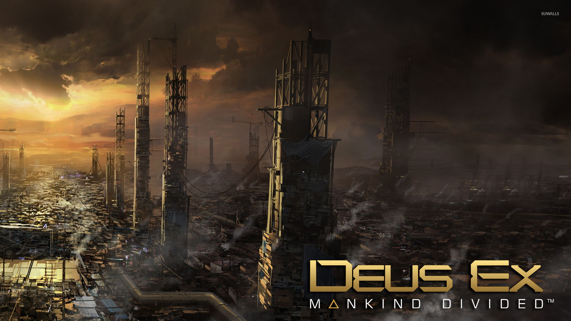 Sunset Above The City In Deus Ex Mankind Divided Wallpaper