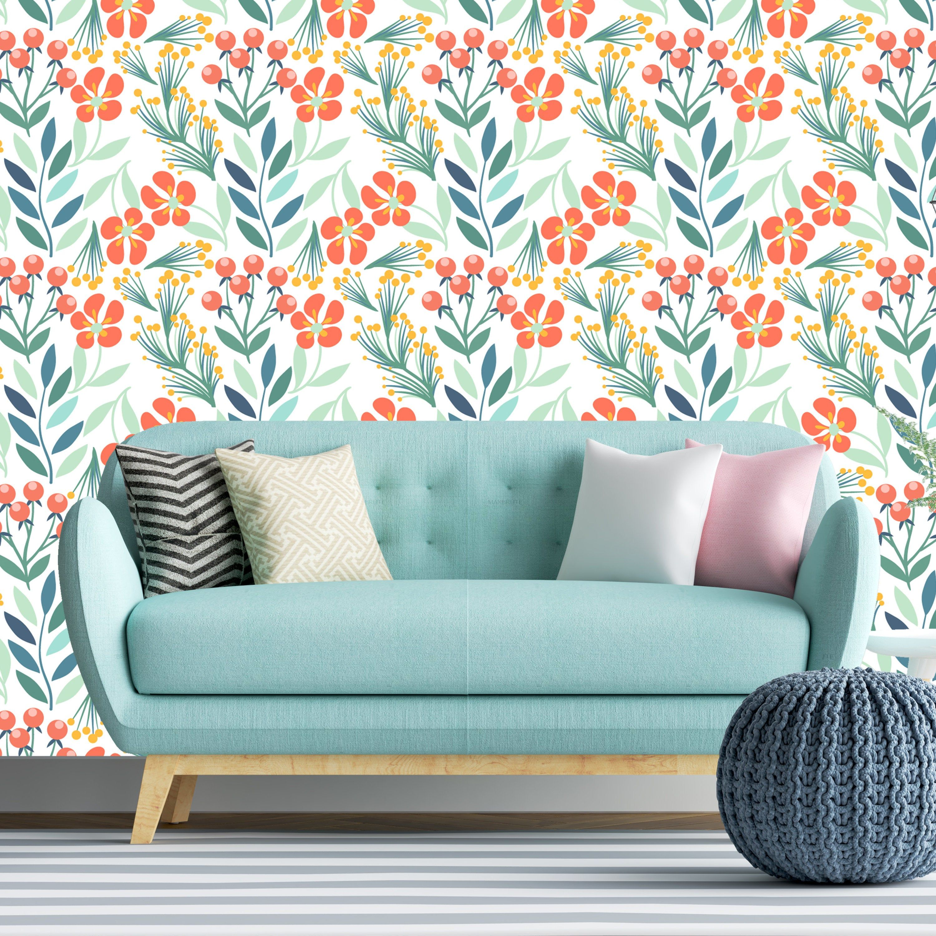 Removable Wallpaper Blue Orange Autumn Wild Meadow Flowers Etsy Accent Wall Removable Wallpaper Nursery Wallpaper