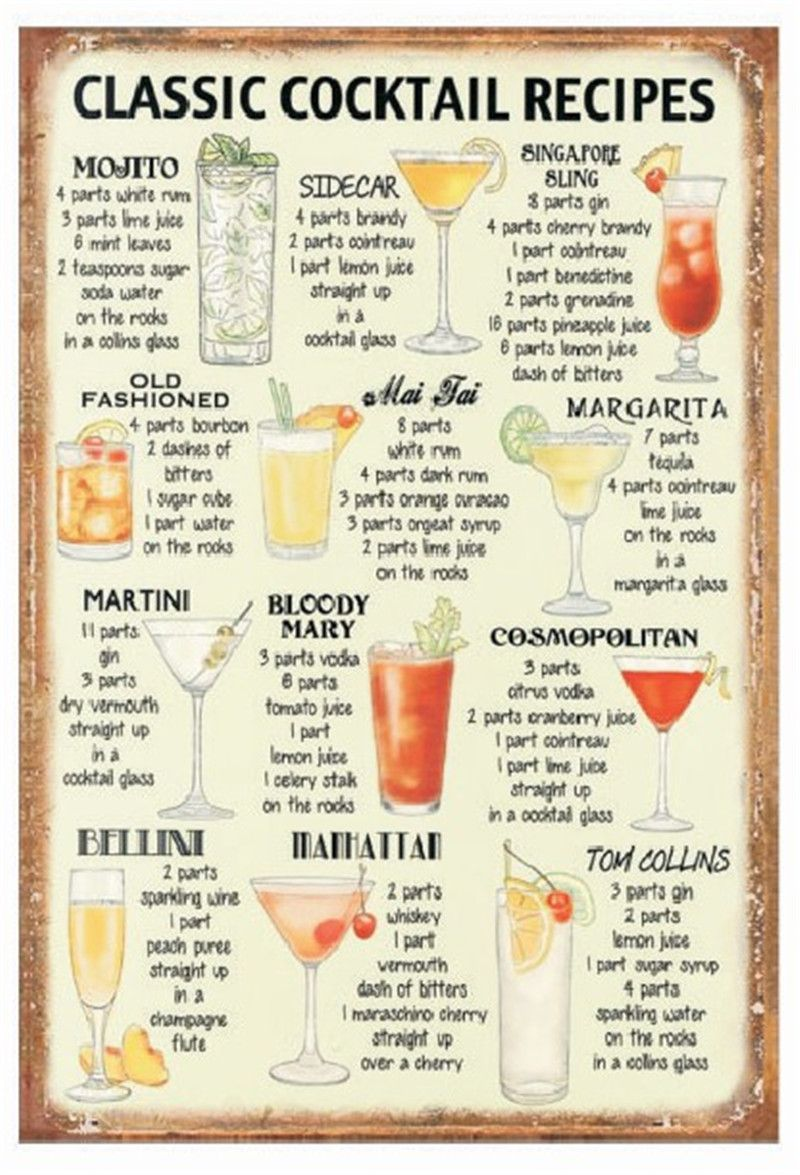 Classic cocktail recipes! vintage metal signs tin plate wall ...