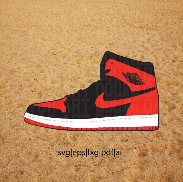 Nike Air Jordan 1 Sneaker SVG Vector VectorArtDownload: Nike Air Jordan 1  High OG BRED