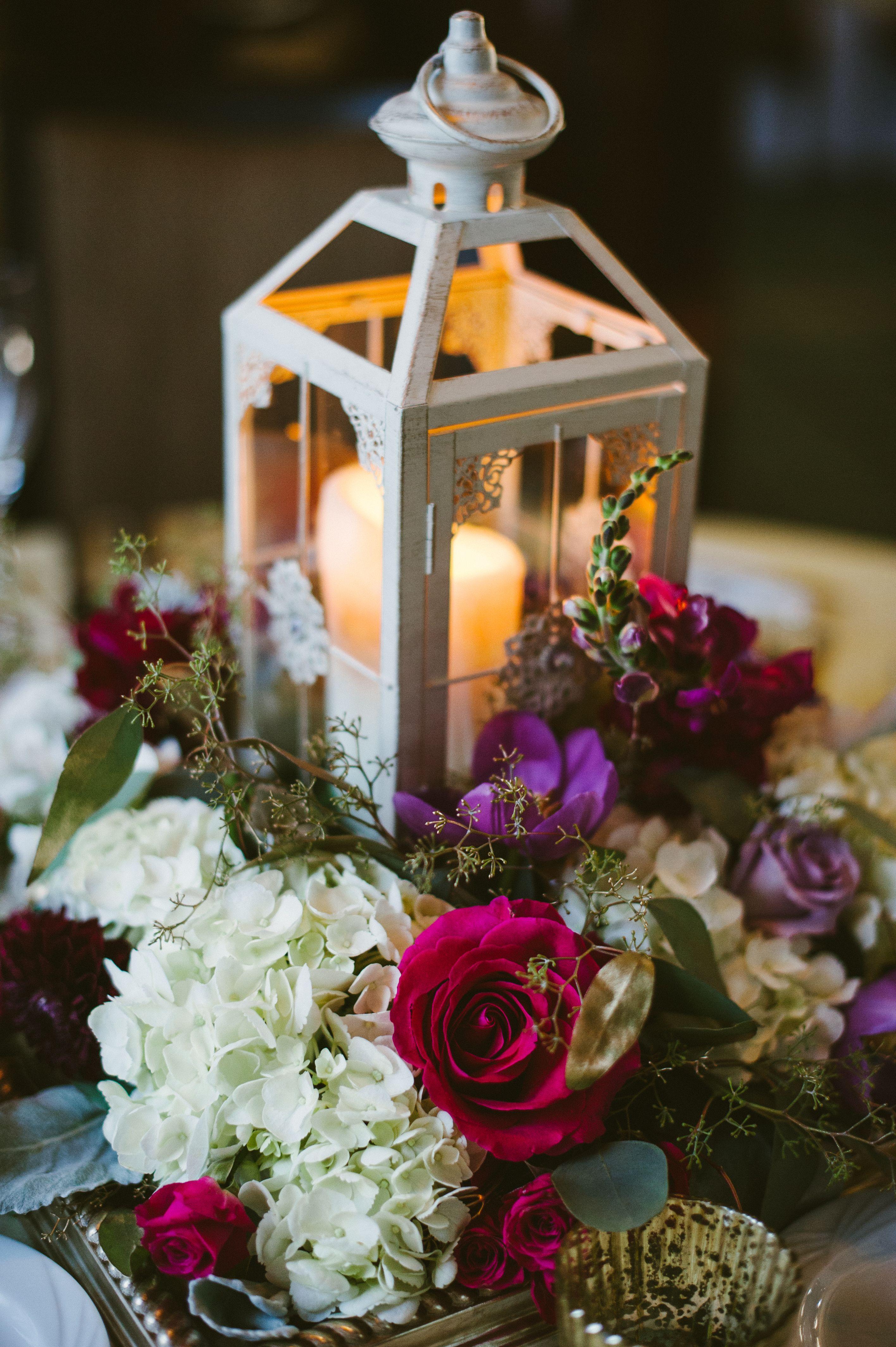 Lantern centerpiece purple fuchsia lavender burgundy