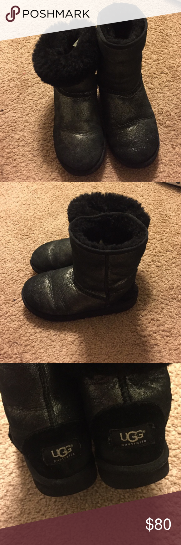 Black/Silver Ugg Boots Black mid ugg boots with a silver finish. UGG Shoes Rain & Snow Boots