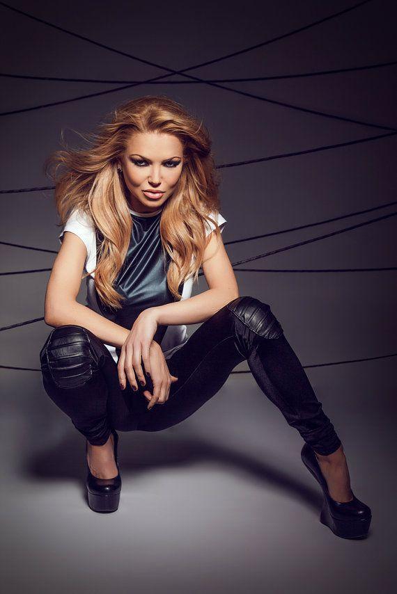 Extravagant Black leggings / Skinny black wedge / Black leggings / Leather details leggings / Lycra leggings