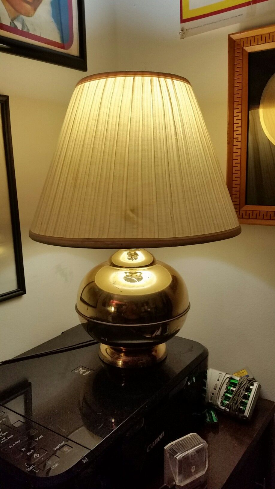 S S Faux Brass Lamp Gives Off Gentle Glow LIGHTING - Bedroom lights off