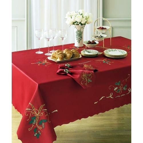 60 X 140 Oblong Red Lenox Cutwork Holiday Nouveau Christmas