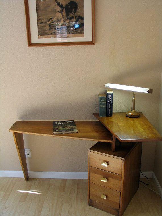 923bbac4c8388 Danish Modern Mid Century Teak Floating Desk Atomic Studio Corner Desk  Eames Era Decor