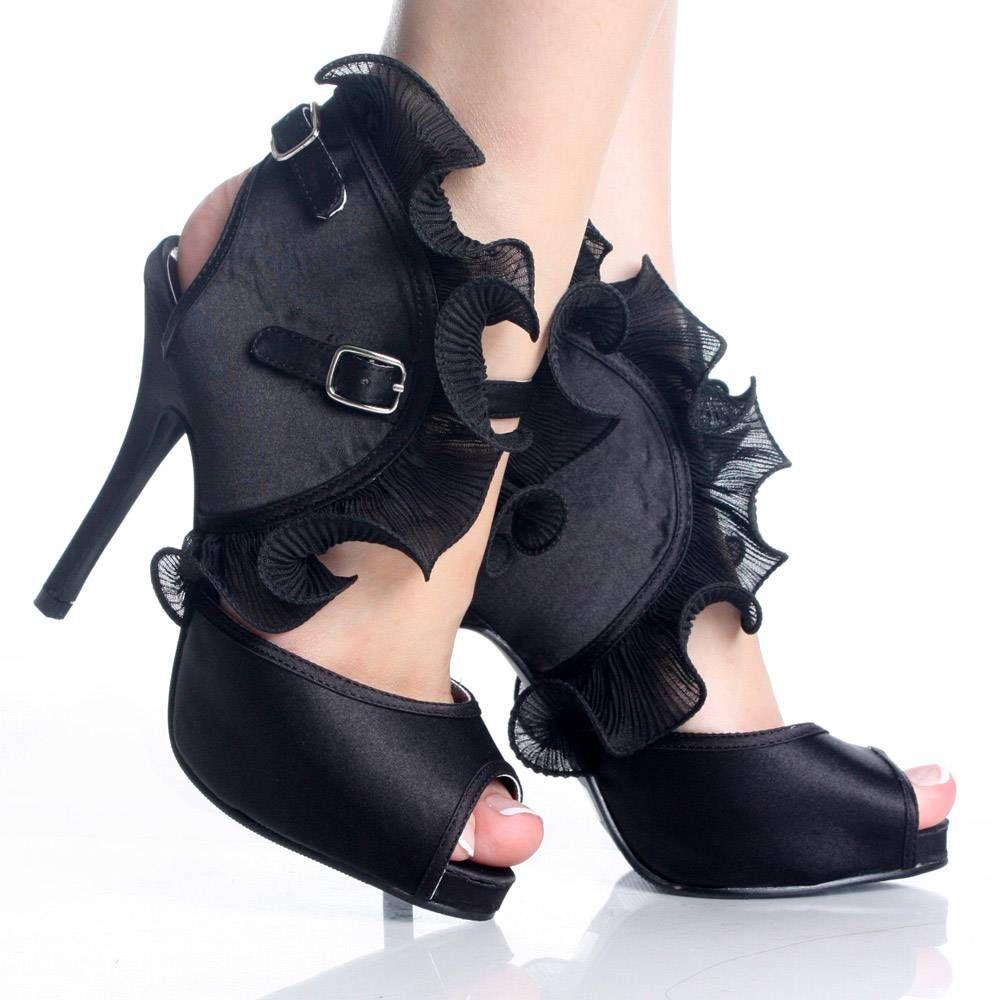 Black Ruffle Evening Party Dance Stiletto Heel Sandal Womens Shoes