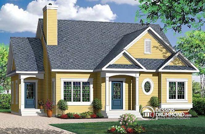 W3116 plain pied champ tre conomique 2 chambres foyer for Plan de belle maison