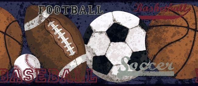 Blue Vintage Sports Wallpaper Border Sports Wallpapers Wallpaper Border Vintage Sports