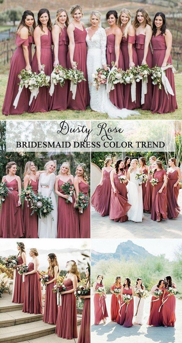 trending dusty rose bridesmaid dresses