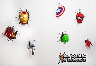 Marvel avengers 3d wall art night light s combo iron man hand marvel avengers 3d wall art night light s combo iron man hand set of 7 wow aloadofball Images