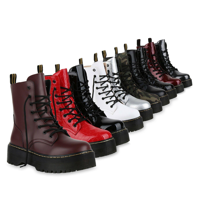 Damen Stiefeletten Worker Boots Profilsohle Stiefel Outdoor 825681 Schuhe
