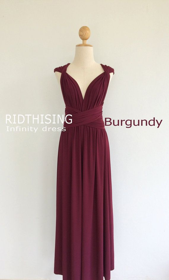 451699215e4 Bridesmaid dresses Maxi Burgundy Infinity Dress Bridesmaid Dress Prom Dress  Convertible Dress Wrap Dress