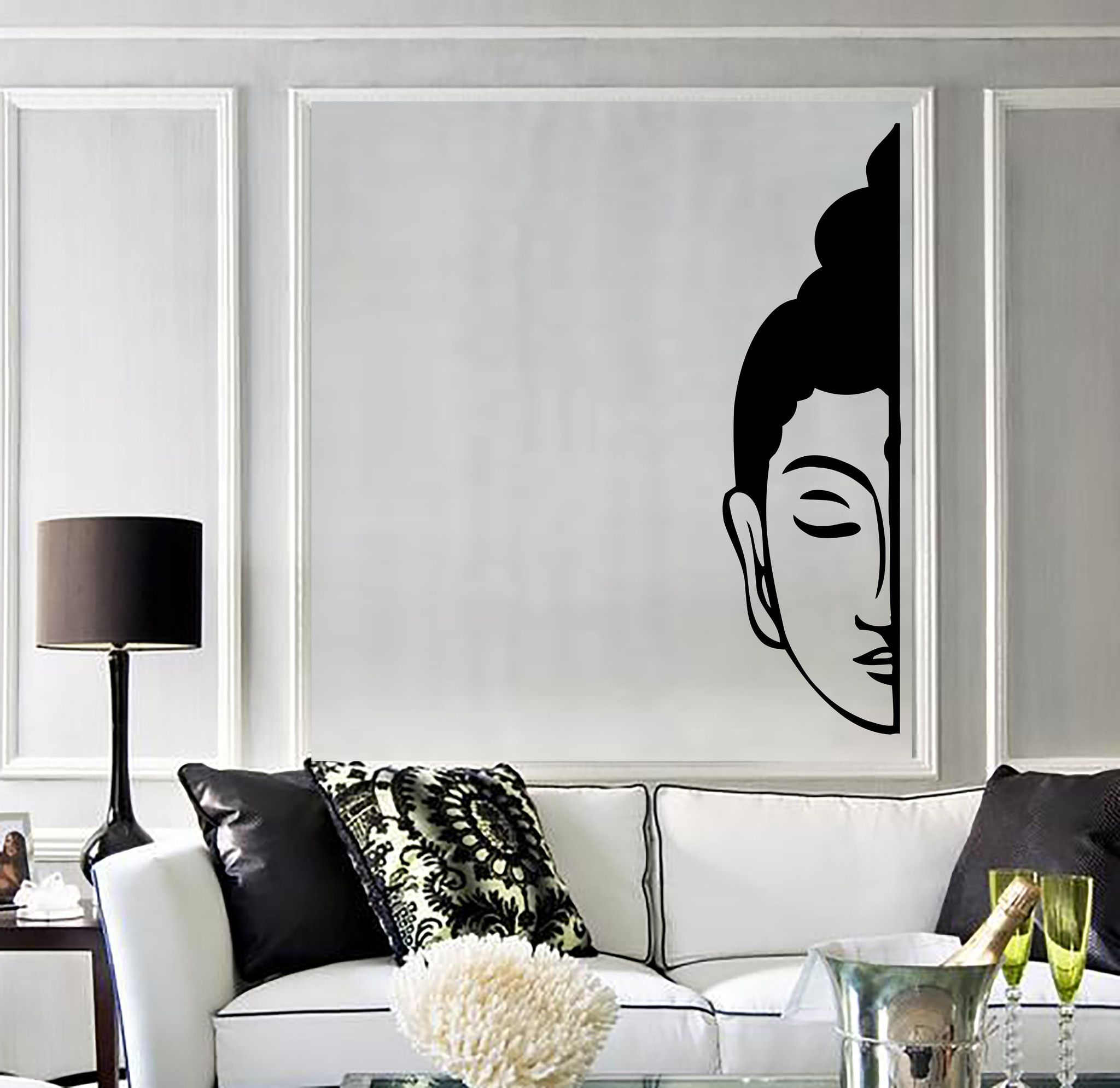 Best Vinyl Wall Decal Buddha Face Buddhism Decoration Room 400 x 300
