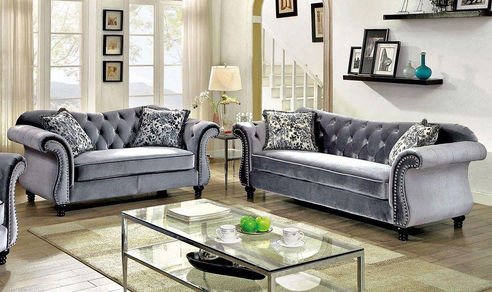 Faris Grey Fabric Living Room Sofa Set Furniture Of America Furniture