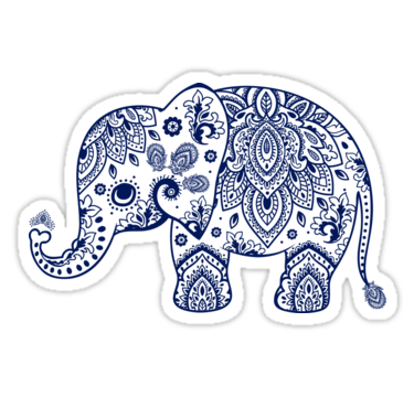 'Blue Floral Elephant Illustration' Sticker by artonwear