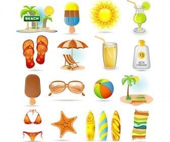 Summer Sticker kostenlos, Strand clipart, Sommer